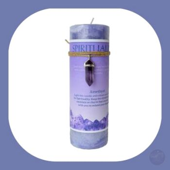 Spirituality Pillar Candle With Amethyst Pendant Candles Mystical Moons
