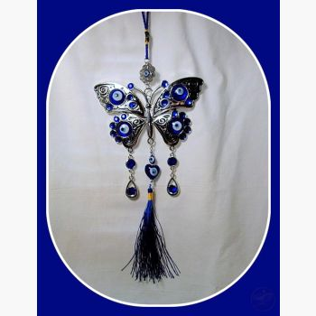 Spreading Wings Under Protection Butterfly Evil Eye Hanging Wall Plaque Mystical Moons