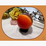 Stimulating Insight Red Cat's Eye Sphere & Stand 75Mm Crystal Ball Mystical Moons