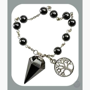 Stone Of The Mind Hematite Tree Life Pendulum Bracelet Mystical Moons