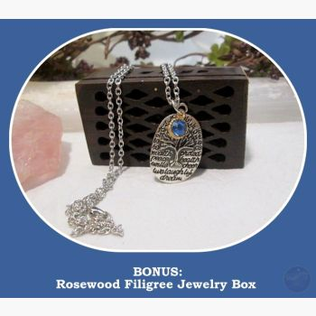 Tree Of Life Blue Sapphire Necklace & Jewelry Box Mystical Moons