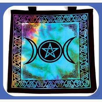 Triple Moon Pentagram Tote Bag Bags Mystical Moons
