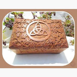 Triquetra Wooden Carved Trinket Box Mystical Moons