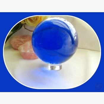 Vibrant Blue Quartz Healing Sphere & Stand 80Mm Crystal Ball Mystical Moons