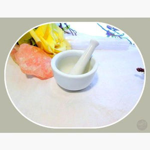 White Porcelain M & P Set Mortar Pestles Mystical Moons