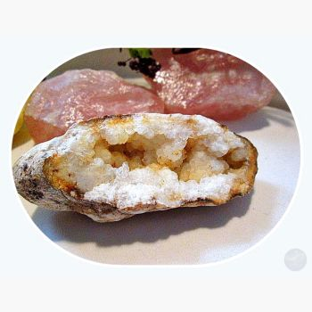 White Quartz Geode - Ooak 450Ct Crystal Mystical Moons