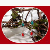 Wisdom & Balance Sleeping Beauty Turquoise Coral Sterling Silver Earrings Mystical Moons