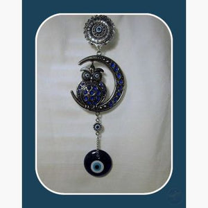 Wise Owl & Moon Evil Eye Hanging Mystical Moons