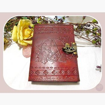 Witches Pentagram Latched Leather Journal Journals Mystical Moons