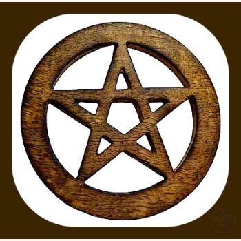 Wooden Pentagram Altar Tile Mystical Moons