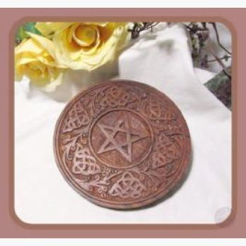 Wooden Pentagram Celtic Altar Tile / Wall Hanging Plaque Mystical Moons