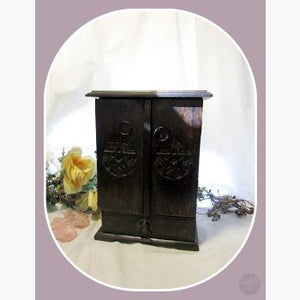 Wooden Pentagram Cupboard Mystical Moons