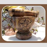 Wooden Pentagram M & P Set Mortar Pestles Mystical Moons