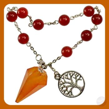 Wrapped In Carnelian Warmth Tree Of Life Pendulum Bracelet Mystical Moons