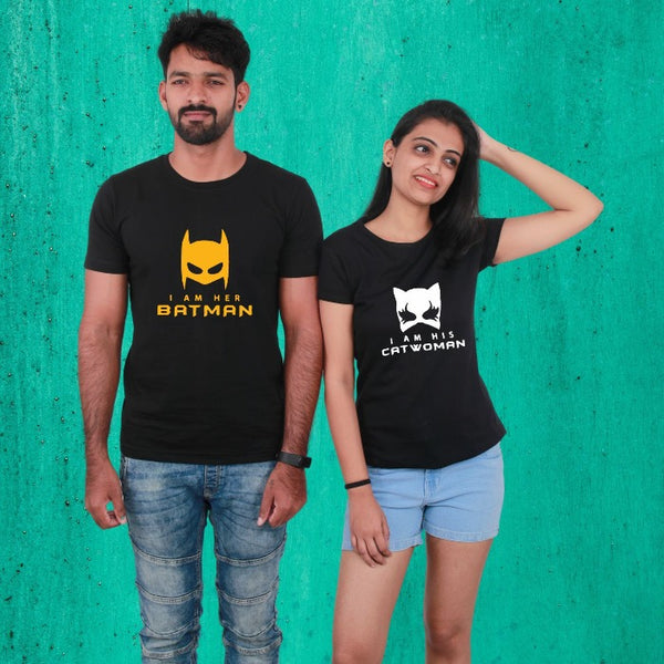 T Bhai - Her Batman & His Catwoman Couple T-Shirt