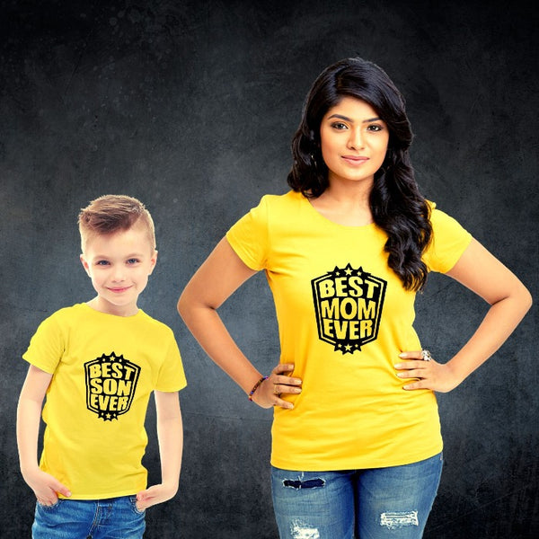 T Bhai - Best Mom Ever Best Son Ever Matching Mother and Son Combo T-Shirt