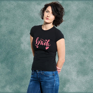 Bride Neon Pink Glitter Print T-Shirt for Pre-Wedding Photo Shoots
