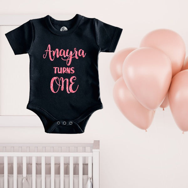 Custom Name Turns One First Birthday Glitter Print Romper for Babies