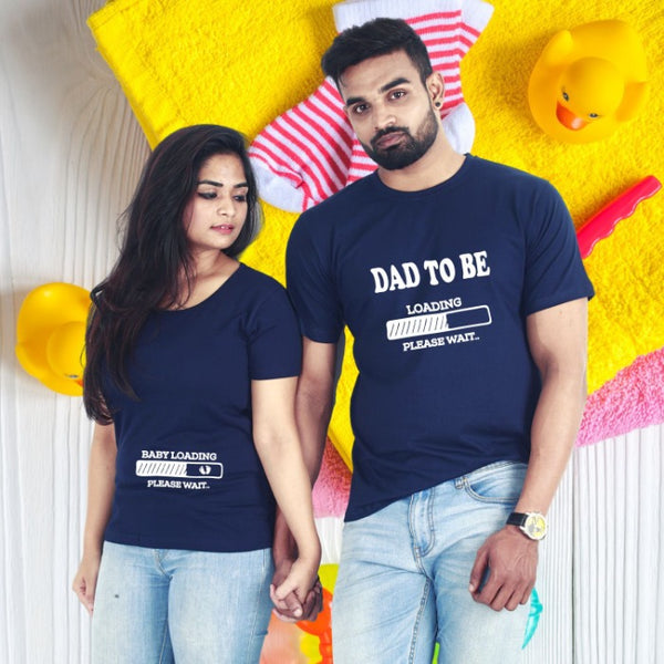 T Bhai - Dad to be Baby Loading Couple T-Shirt