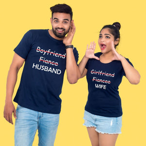 T Bhai - Fiance to Husband Fiancee to Wife Couple T-Shirt