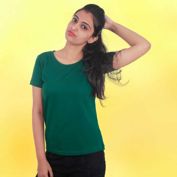 T Bhai - Women's Plain T-Shirt Bottle Green