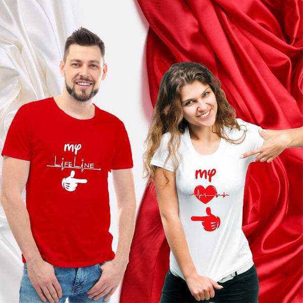 T Bhai - Heartbeat & Lifeline Couple T-Shirt