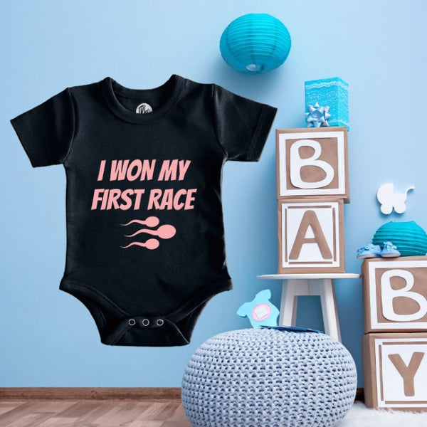 I Won My First Race Romper Baby Boys & Baby Girls