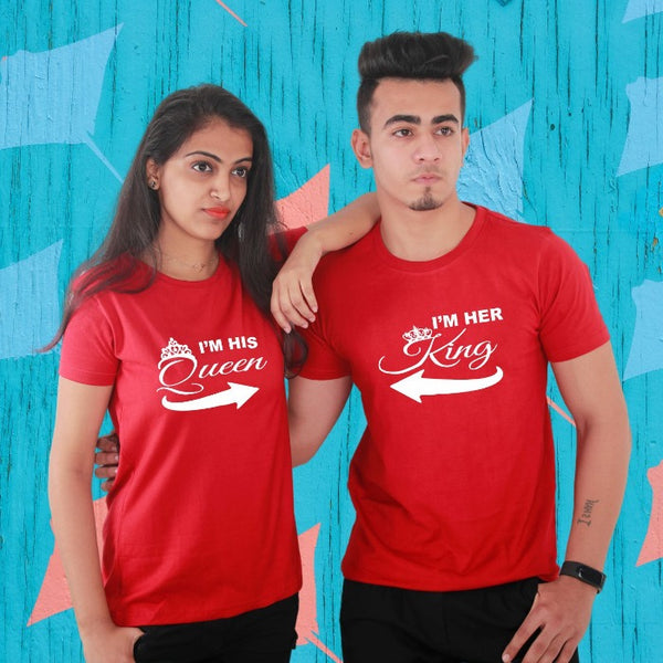 T Bhai - I am His Queen I am Her King Couple T-Shirt