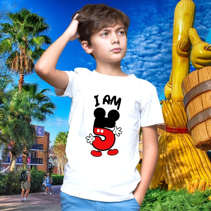 T Bhai - I am 5 Mickey Mouse Theme Fifth Birthday T-Shirt for Kids