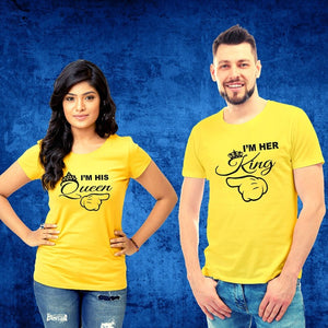 T Bhai - His Queen Her King Couple T-Shirt