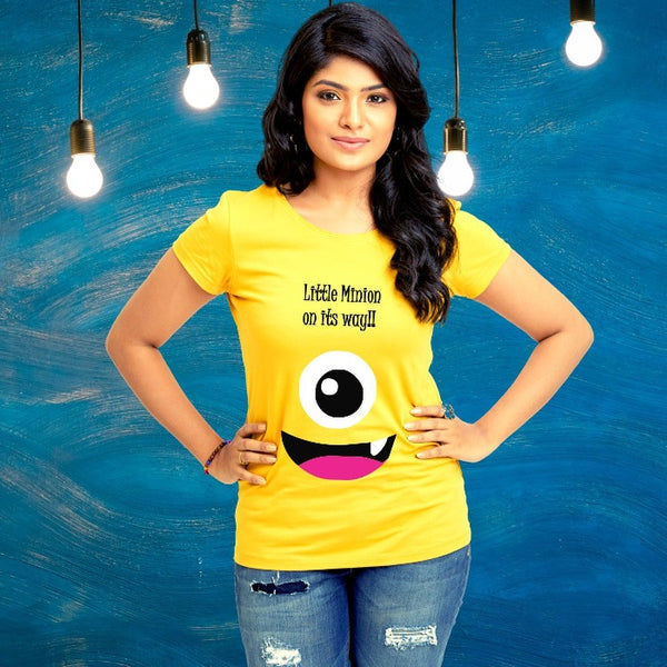 T Bhai - Little Minion on its Way Maternity T-Shirt for Women