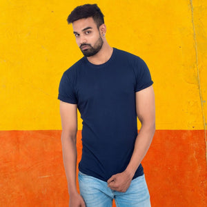 T Bhai - Men's Plain T-Shirt Navy Blue