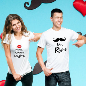 T Bhai - Mr Right & Mrs Always Right Mustache Couple T-Shirt