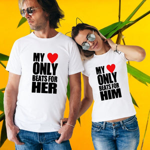 T Bhai - My Heart Only Beats for Him Her Couple T-Shirt