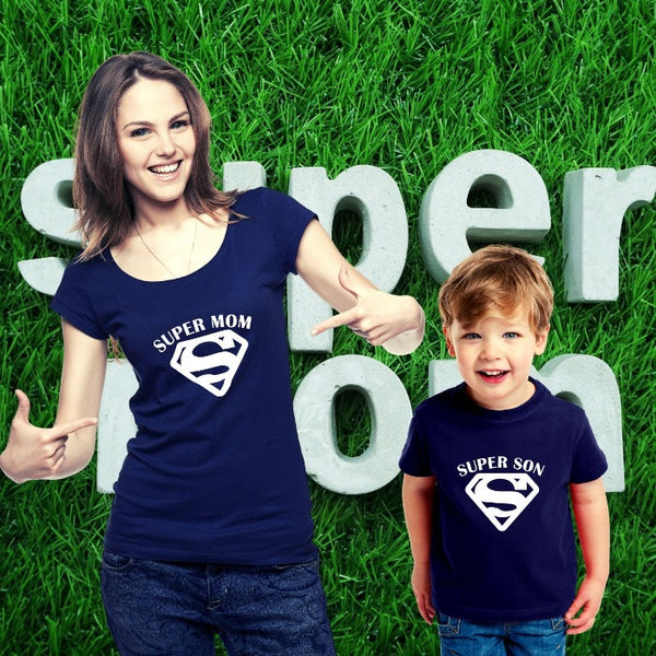 T Bhai - Super Mom and Super Son Matching Mother Son Combo T-Shirt