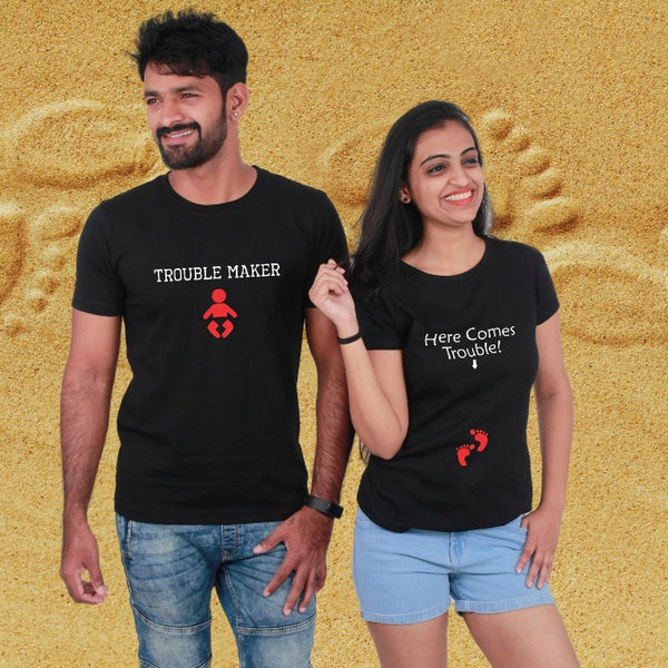 T Bhai - Trouble and Trouble Maker Couple T-Shirt