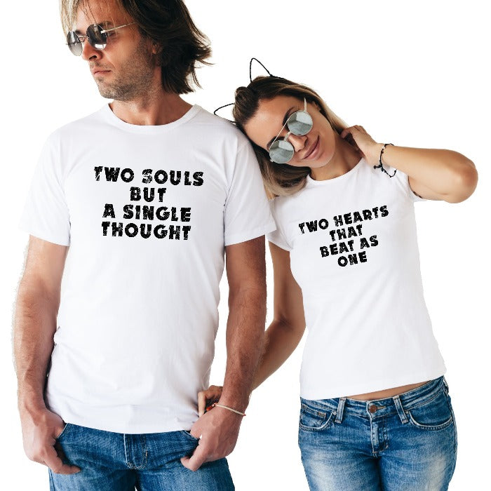 a58f6860e97f0 Two Hearts and Two Souls Couple T-Shirt - T Bhai