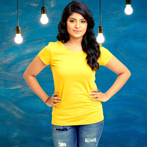 T Bhai - Women's Plain T-Shirt Yellow