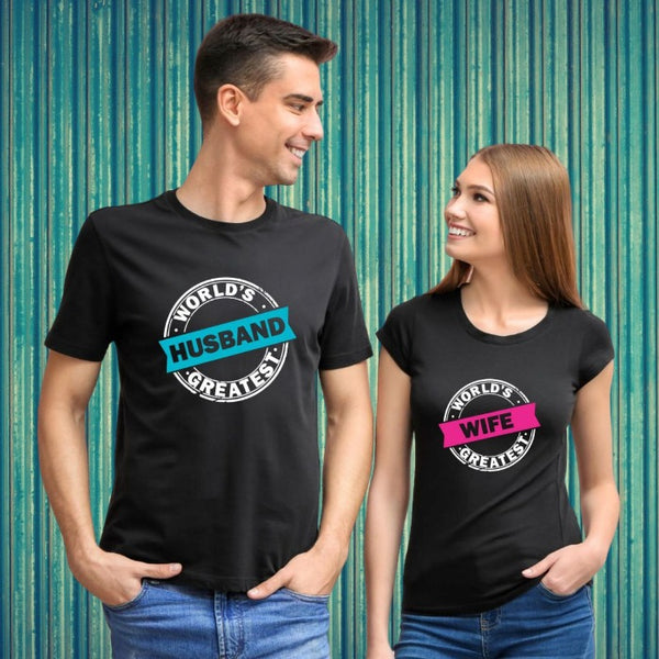 T Bhai - World's Greatest Husband and World's Greatest Wife Couple T-Shirt