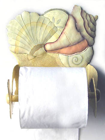 Shell Design Toilet Paper Holder - Towel Holder - Hand Painted Metal  - Bathroom Tissue Holder