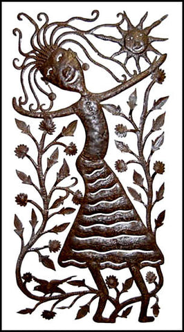 "Haitian Art - Peasant Woman - Recycled Haitian Steel Drum Metal Art - 15"" x 30"""