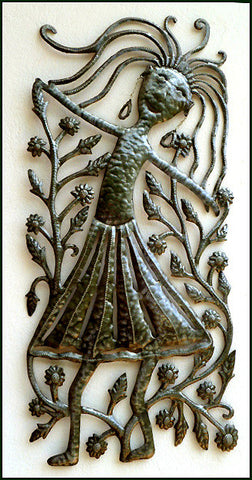 "Haitian Art, Recycled Haitian Steel Drum Metal Wall Art, Dancing Woman - 17"" x 30"""