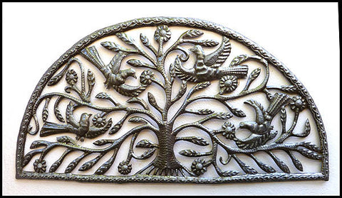 "Haitian Steel Drum Metal Art, Birds Metal Wall Hanging, Haitian Art, Haiti Metal Art, 18"" x 34"""