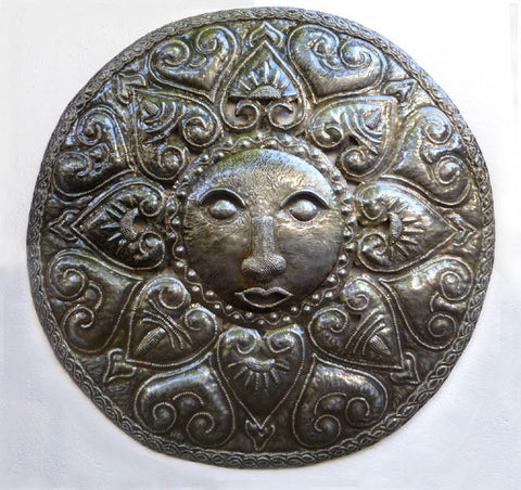 Metal Sun Wall Hanging, Haitian Steel Oil Drum Art, Metal Art of Haiti, Outdoor Garden Decor. 34""