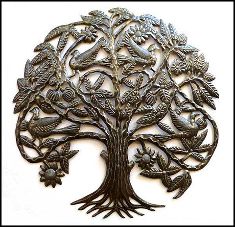 Metal Tree - Flowers & Birds Wall Hanging - Haitian Art - Steel Drum Art from Haiti - 31""