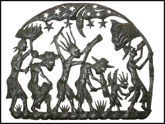 "Metal Wall Decor, Haitian Rara Band Wall Hanging, Haitian Metal Art, Steel Drum Metal Art from Haiti - 19"" x 24"""