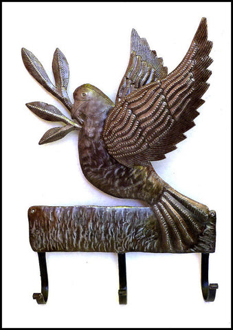 Metal Dove Wall Hook - Metal Hanger - Haitian Recycled Steel Drum Art from Haiti.