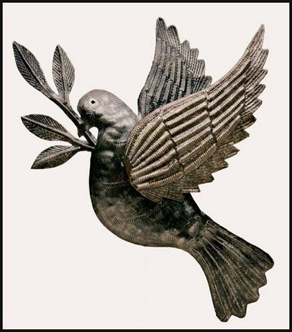"Metal Dove Wall Decor, Christian Gift Idea, Haitian Metal Art, Recycled Steel Drum Art from Haiti - 10"" x 12"""