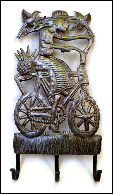Metal Hook, Peasant on Her Bicycle, Metal Towel Hook, Haitian Metal Art, Handcrafted Wall Hook