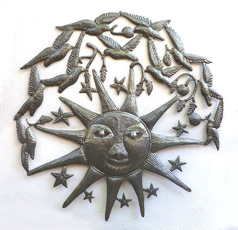 Metal Wall Art, Sun - Birds - Stars, Metal Wall Hanging, Steel Drum Art from Haiti - Haitian Metal Art - 34""